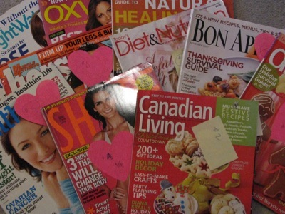 Picture of a bunch of magazines all talking about food, diet, nutrition, fitness, shape, weightloss... and all from the same month!