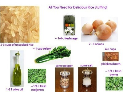Collage of ingredients in rice stuffing
