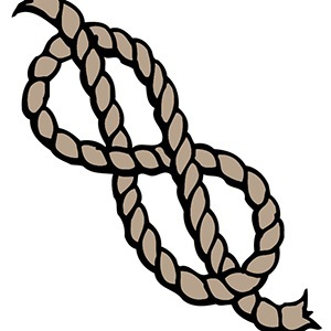 Drawing of a rope tied loosely into a figure-8 knot