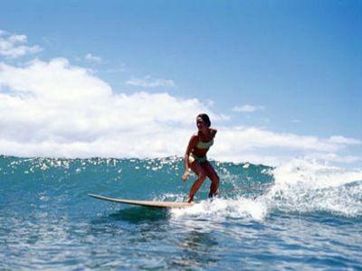 Girl surfing on the ocean