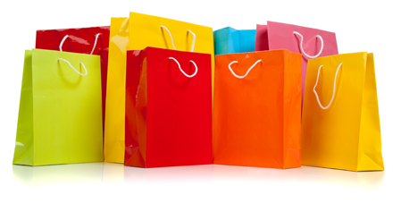 Picture of brightly-coloured shopping/gift bags...lots of them!