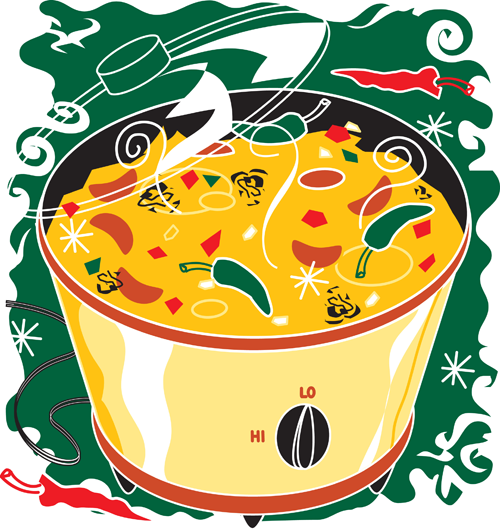 Fun, colourful graphic drawing of a slow cooker with soup in it