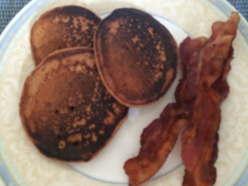 Pancakes (no wheat, eggs, corn, or dairy) and bacon